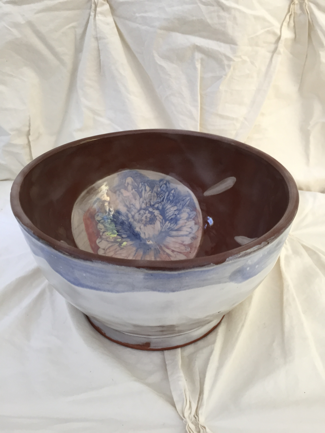 chrystanthemum on navajo clay bowl