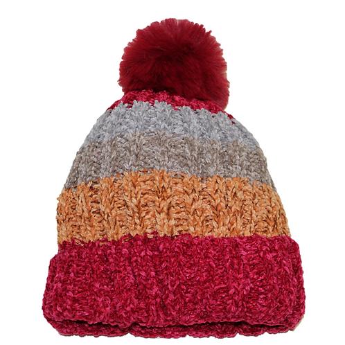 Gorro lana rojo-naranja-gris