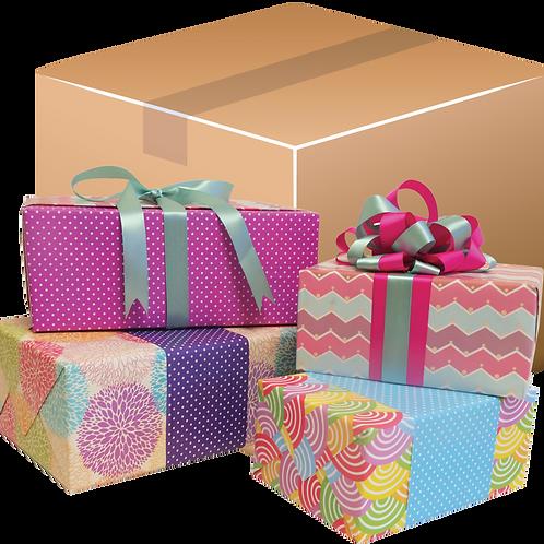 Caja de cartón con productos envueltos