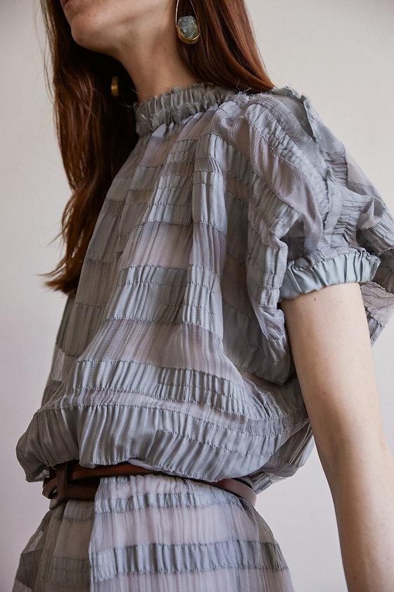 Anna Valentine Silk Chiffon Ruched Banded Dress details