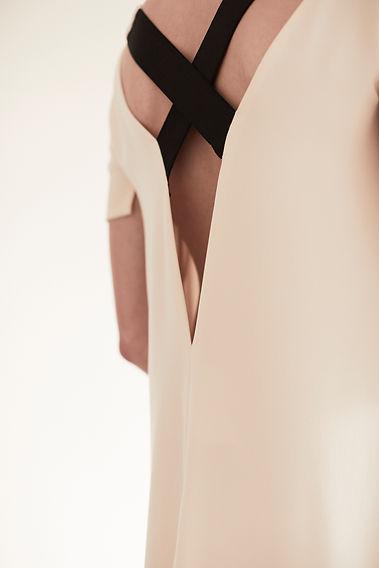 Anna Valentine Marocain Silk & Jersey Trapeze Dress back