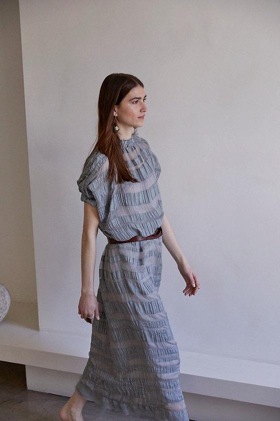 Anna Valentine Silk Chiffon Ruched Banded Dress