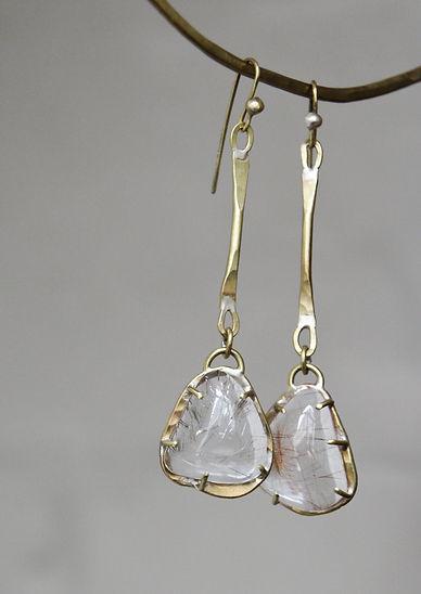 Anna Valentine Rutile quartz drop earrings