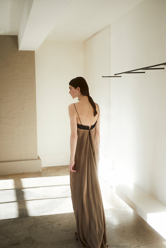 Anna Valentine Draped Charmeuse Silk Buckle Dress back