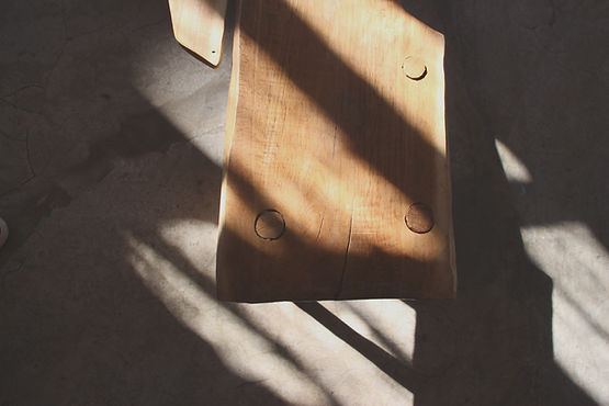 Anna Valentine atelier sunlight and shadow on bench