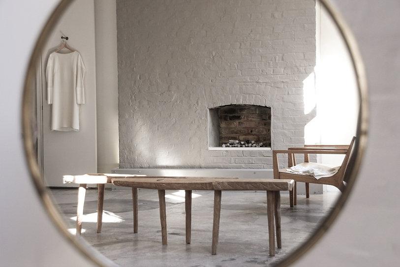 Anna Valentine atelier through mirror - shadows and light