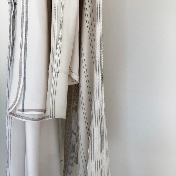 Anna Valentine topstitched pinstripe on silk hanging