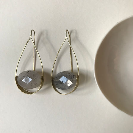 Anna Valentine faceted drop frame earrings