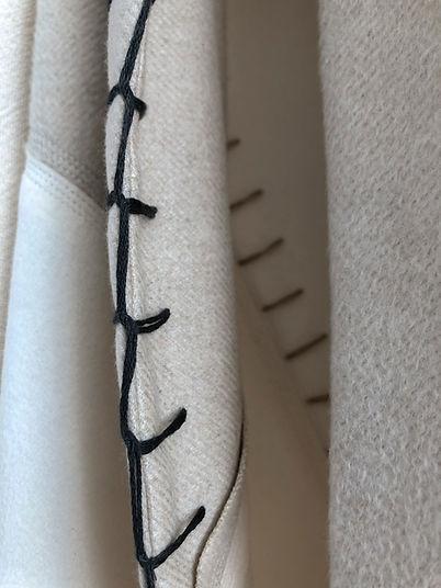 Anna Valentine Blanket Stitch Embroidered Details on Luxury Wool Remnant Coat