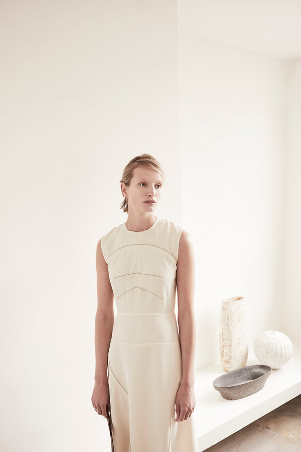 Anna Valentine Chevron Darted Panel Dress front