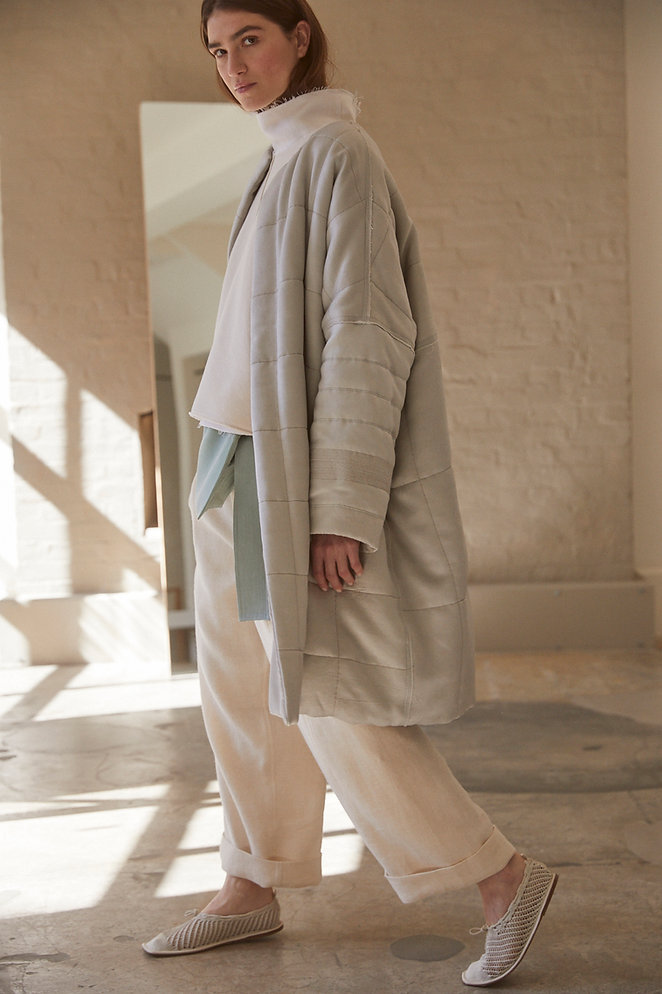 Anna Valentine Quilted Duchess Coat. Tumbled Duchess Funnel Neck. Wool & Linen Trousers.