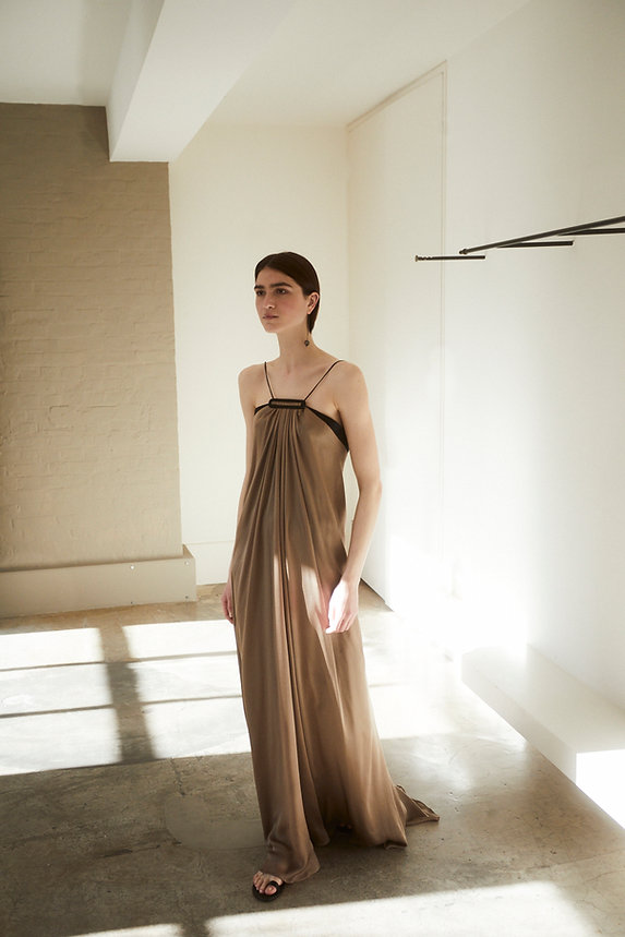 Anna Valentine Draped Charmeuse Silk Buckle Dress front
