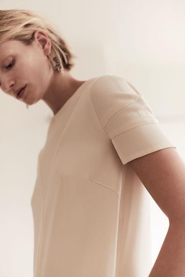 Anna Valentine Marocain Silk & Jersey Trapeze Dress front