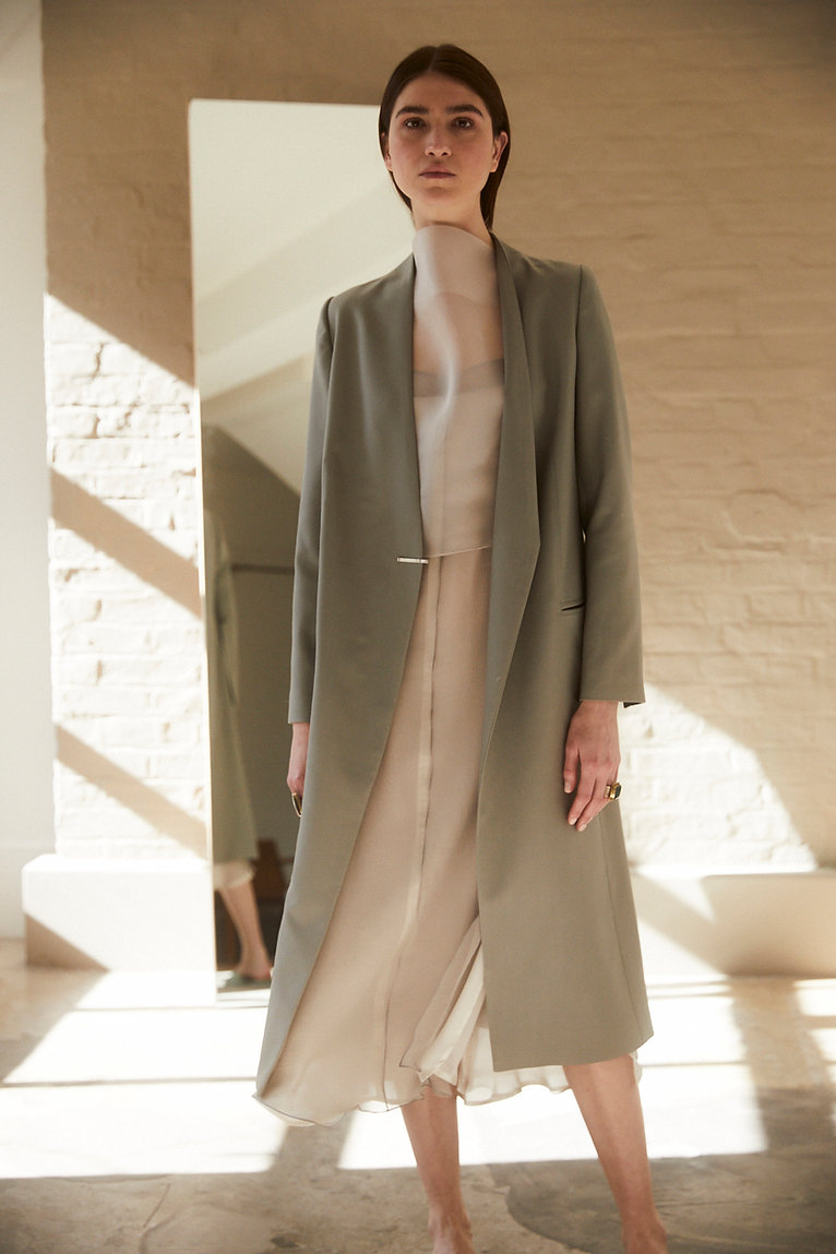 Anna Valentine Tailored Wool Coat with Hammered Silver Fastening.Cowl Neck Organza & Chiffon Layered Dress.