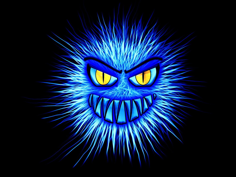 Keep scary computer viruses (shown as bright blue monster face) and hackers at bay with an anti-virus strategy.