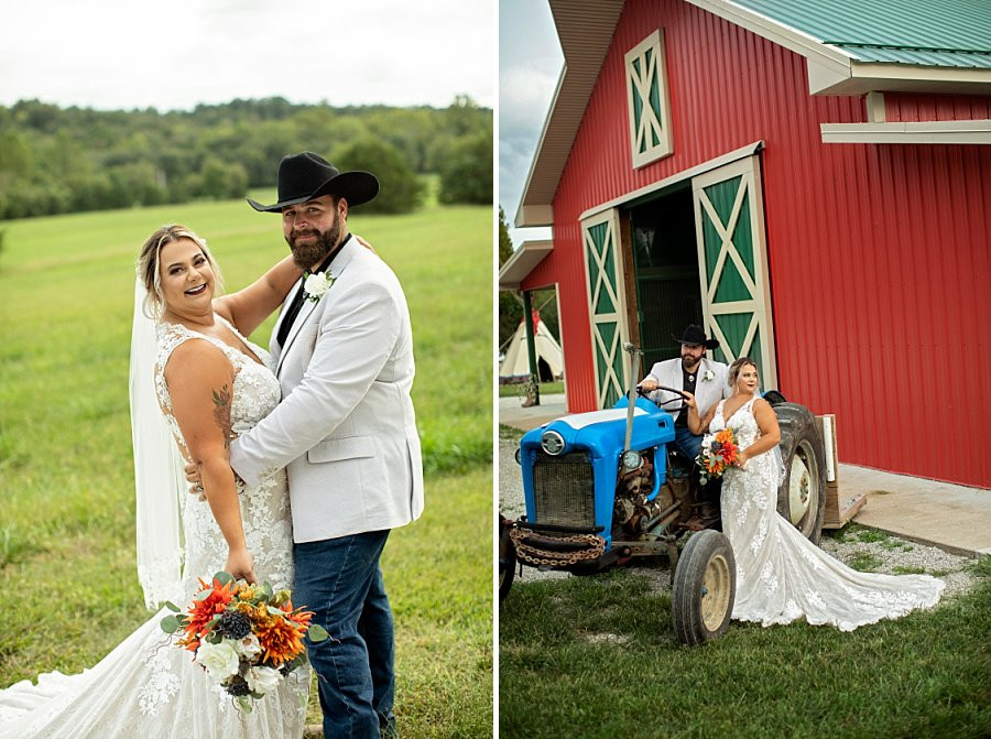 Bride and Groom hugging in front of barn after their Western, Country Wedding at Wicked Pony Ranch