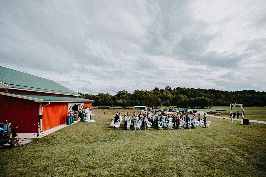 Mid Missouri Outdoor Ceremony at Wicked Pony Ranch with Rustic Barn