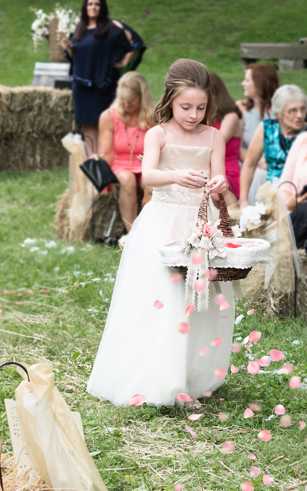 flower girl outdoor rustic wedding