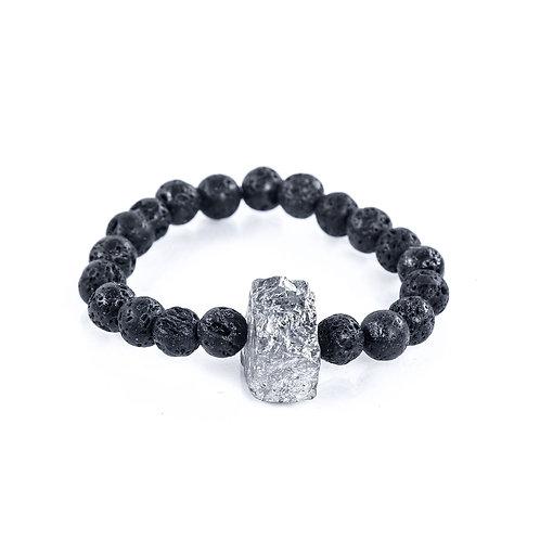 Silver Agate Mens Bracelet