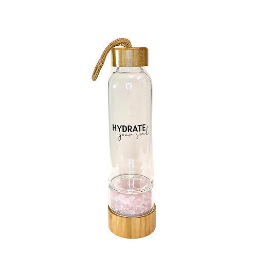 Bamboo Glass Bottle - Rose Quartz