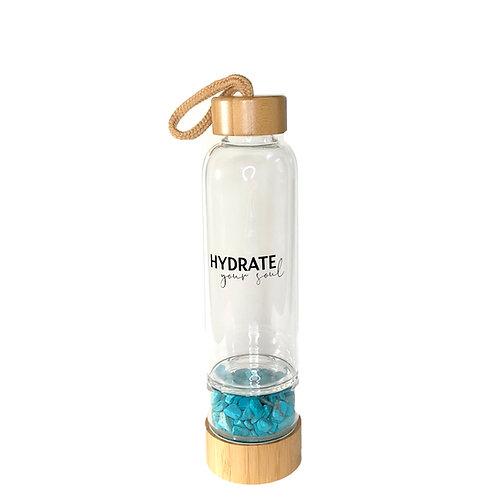 Bamboo Glass Bottle - Turquoise