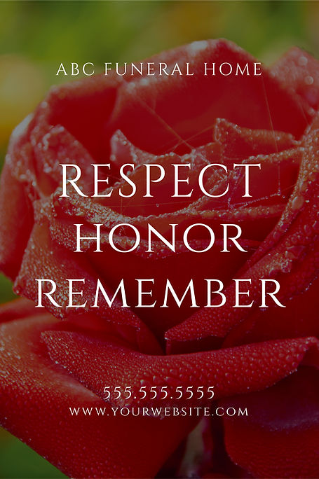 """Funeral Homeand Center Postcard Postcard""""Respect, Honor, Remember"""""""