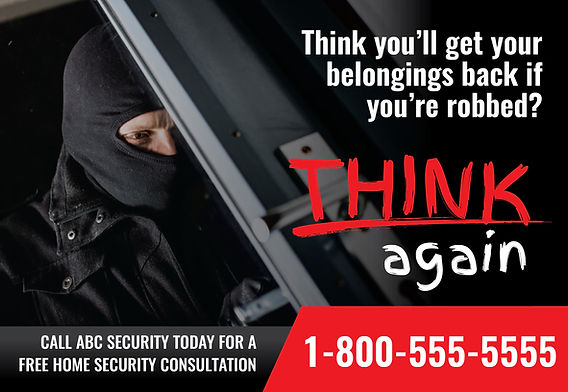 """Security System Postcard """"Think Again"""""""