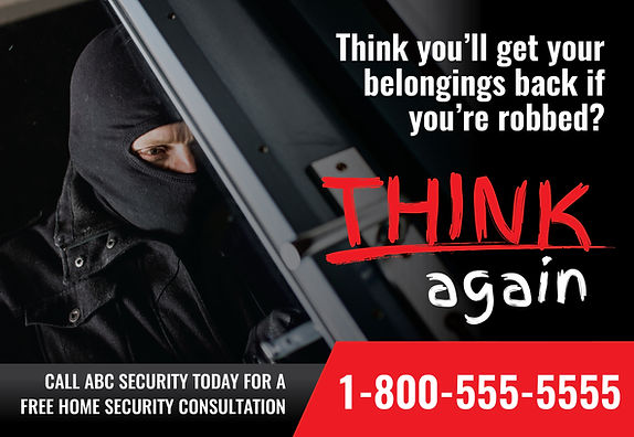 "Security System Postcard ""Think Again"""