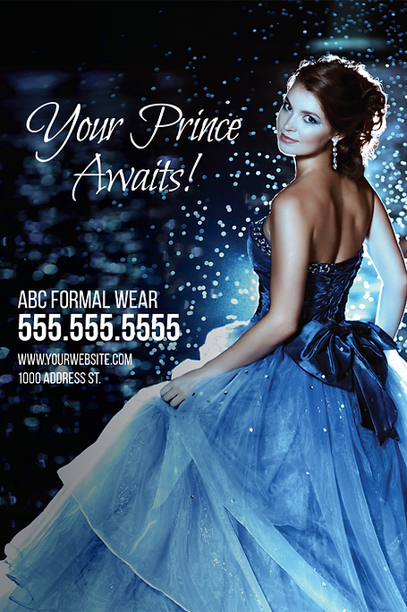 """Formal Wear and Bridal Postcard """"Your Prince Awaits"""""""