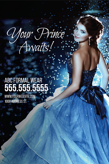 "Formal Wear and Bridal Postcard ""Your Prince Awaits"""