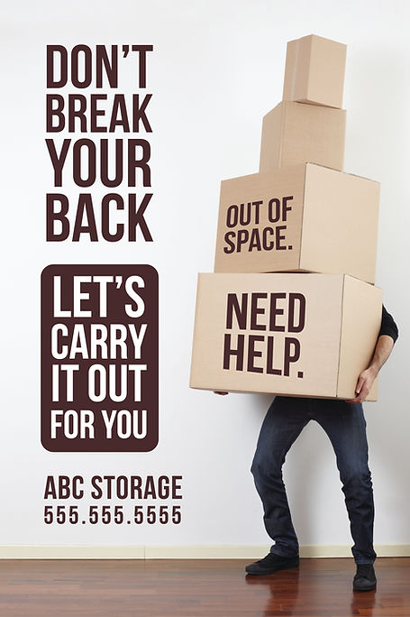 """Moving and Storage Postcard """"Don't Break Your Back"""""""