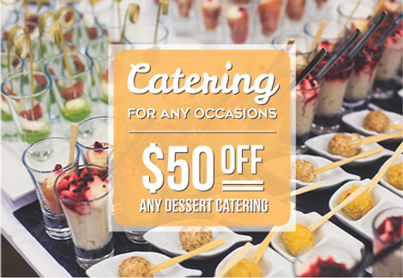 """Catering and Home Chef Postcard""""$50 Off Dessert"""""""