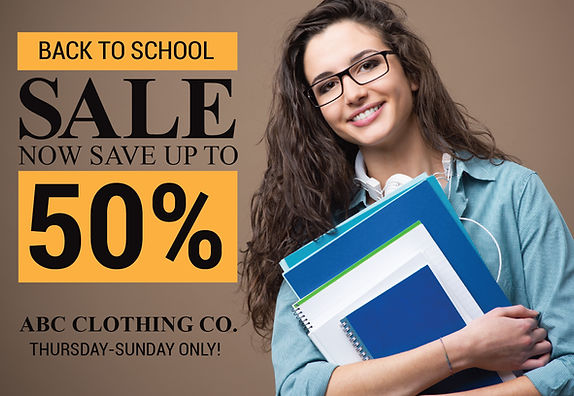 "Retail Shop Postcar ""Back to School Sale"""