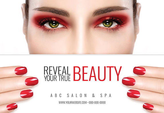 """Spa and Nail Salon Postcard  """"Reveal Your True Beauty"""""""