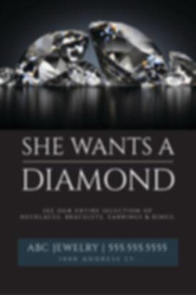 "Jewelry and Jewelry Shop Postcard ""She Wants a Diamond"""