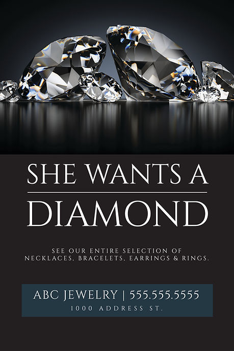 "Jewelry and Jewelry Shop Postcard ""She Wants a Diamond"""