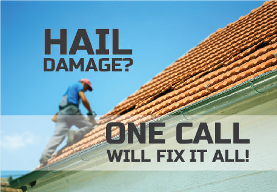 """Roofing Installer and Roofing Repair Postcard """"Hail Damage"""""""