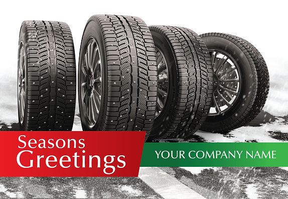 "Tire Shop Postcard ""Seasons Greetings in the Snow"""