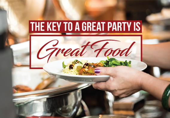"""Catering and Home Chef Postcard """"Great Food, Great Party"""""""