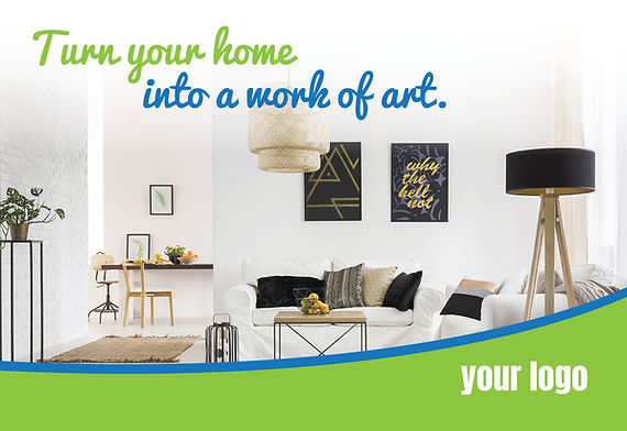 """Interior Design Postcard """"Turn Your Home Into A Work of Art"""""""