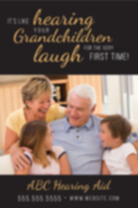 "Hearing Aid Specialist and Testing Center Postcard ""Grandchildren Laugh"""