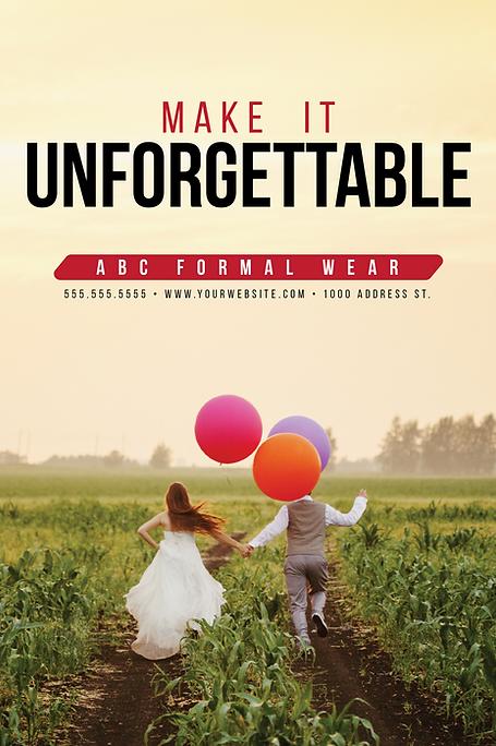 "Formal Wear and Bridal Postcard ""Make It Unforgettable"""