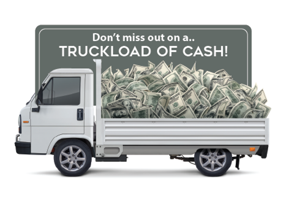 "Auto Sales Postcard ""Truckload of Cash"""
