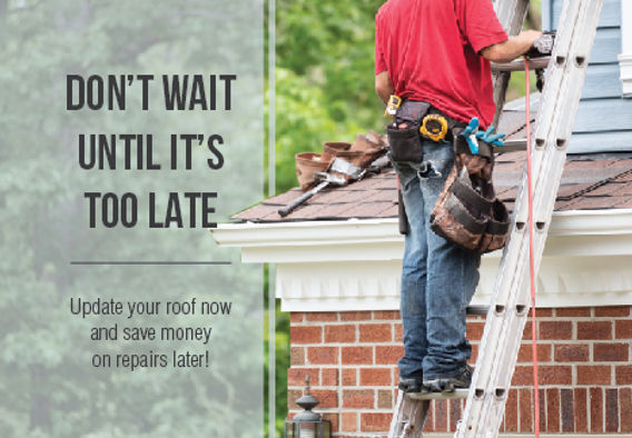 """Roofing Installer and Roofing Repair Postcard """"Don't Wait Until It's Too Late"""""""