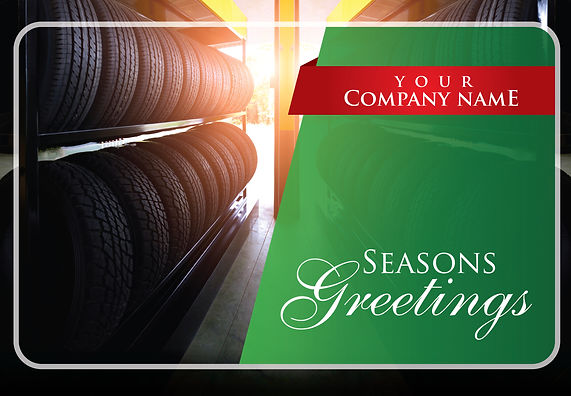 "Tire Shop Postcard ""Seasons Greetings in the Sun"""