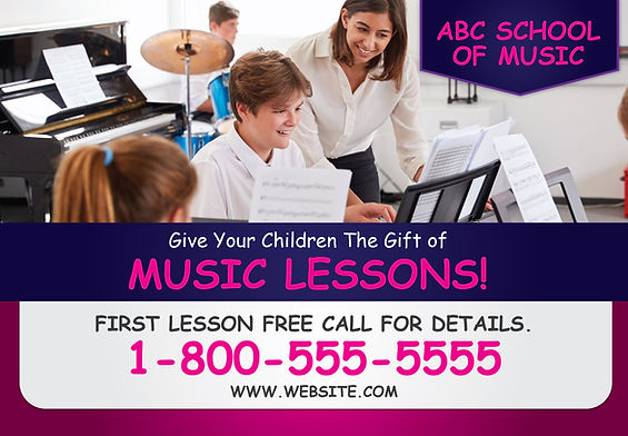"""Music School Postcard """"Give The Gift of Music Lessons"""""""