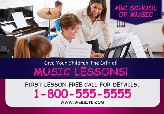 "Music School Postcard ""Give The Gift of Music Lessons"""