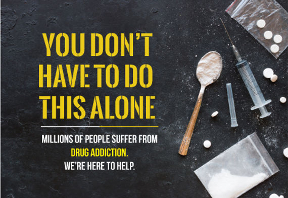"""Alcohol and Drug RehabilitationPostcard """"You Don't Have To Do This Alone"""""""