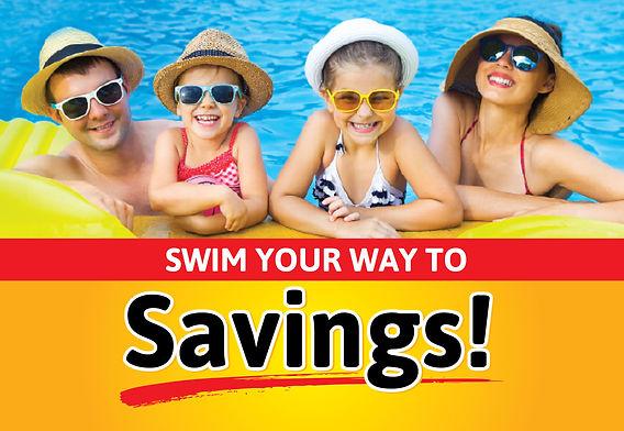 """Pool and Spa Postcard """"Swim Your Way To Savings"""""""