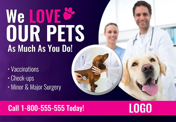 """Veterinarian and Pet Hospital Postcard """"We Love Our Pets"""""""